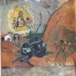 Pablo Picasso, Parodia de Exvoto La Virgen aparenciéndose a Miguel Utrillo, accidentado, Barcelona, 1899-1900 Huile sur toile, 56,6 x 40,80 cm Museu Picasso Barcelona / © Succession Picasso 2016