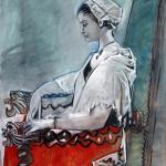 ablo Picasso, Portrait de Paule de Lazerme en Catalane, Perpignan, 19 août 1954 Gouache sur papier 63 x 46 cm Musée des Beaux-Arts Hyacinthe Rigaud / Coll. Musée Hyacinthe Rigaud / Ville Perpignan © Pascale Marchesan / service photo ville de Perpignan