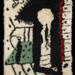 Pablo Picasso, Serrure, vers 1955 Tapis en laine au point noué, réalisé d'après un carton de Pablo Picasso. 193 x 142 cm Collection Albertini-Cohen / Photo David Giancatarina © Succession Picasso 2016